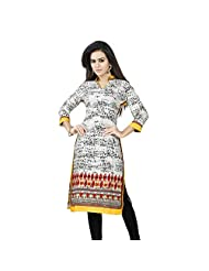 Miss & Mrs Party Wear 3/4 Sleeve Printed Cotton Women's KurtiX-Large - B00XND0BGO