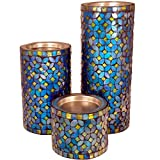 Mosaic Candle Holder, Pillar Candle Holder - Blue Color Mosaic (Set Of 3)