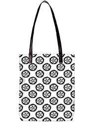 Snoogg Zig Zag Pattern Womens Digitally Printed Utility Tote Bag Handbag Made Of Poly Canvas With Leather Handle