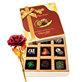 Valentine Chocholik's Luxury Chocolates - Magical Dark Choco Treat With 24k Red Gold Rose