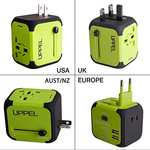 Travel Adapter Uppel All-in-one Worldwide Travel Chargers Adapters for US EU UK AU about 150 countries Wall Universal Power Plug Adapter Charger with Dual USB and Safety Fuse(Green)