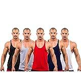 5 X Dk Active Wear BODY BUILDING STRINGER, GYM VEST, GYM STRINGER VEST 100% COTTON (Black,Grey,Red,Navy,White)... - B00YJ3TS52