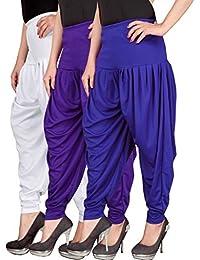 Navyataa Women's Lycra Dhoti Pants For Women Patiyala Dhoti Lycra Salwar Pant Free Size (Pack Of 3) White , Voilet... - B073YH4D3X