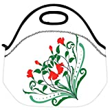 Snoogg Corner Floral Designs Travel Outdoor Carry Lunch Bag Picnic Tote Box Container Zip Out Removable Carry...