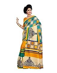 Anu Designer Self Print Saree (6412A_Multi-Coloured)