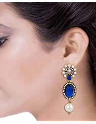 Voylla Floral Gold Tone Danglers Studded With CZ And Blue Stones
