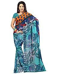 Bano Tradelink Women's Georgette Saree (Btl_Tr-X, Blue)