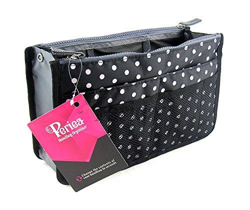 Periea - Organiseur de sac à main, 12 Compartiments - Chelsy (Noir/Blanc, Petit: H15 x L22 x P2-10cm)