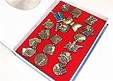 Anime Detective Conan 18PCS Bronze Film Badges Pins Metal New in Box