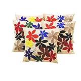 Zikrak Exim Felt Flower Patch Cushion Cover Beige 5 Pc Set 40 X 40 Cm