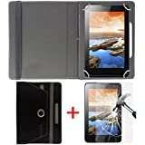 """Hello Zone Exclusive 360° Rotating 7"""" Inch Flip Case Cover + Free Tempered Glass For IBall Slide Gorgeo 4GL -Black"""