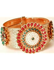 Exotic India Floral Polki Cuff Bracelet With Copper Finish - Copper Alloy With Glass