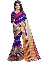 Sarees(Perfectblue Women`s Cotton Silk Saree With Blouse Piece(Purple)