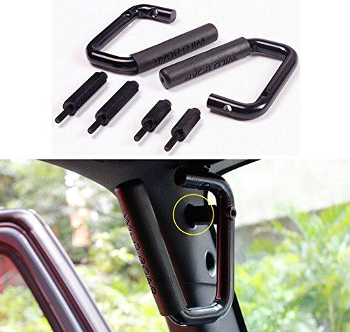 Danti Black Grab Bar Front Grab Handle for Jeep Wrangler JK 2 & 4 Door 2007 2008 2009 2010 2011 2012 2013 2014 2015 – 1 Pair