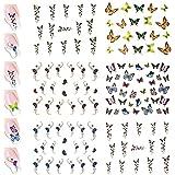 Nail Art Water Nail Stickers Water Transfer Stickers / Nail Art Tattoos / Nail Art Decals, Butterflies (6 Sheets)