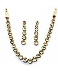 Jewelshingar Jewellery Antique Polki Kundan Gold Plated Necklace Set For Women ( 13212-acs )