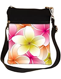 Snoogg All Purpose Bright Frangipani Card In Vector Format Cross Body Tote Bag / Shoulder Sling Carry Bag