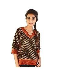 Jaipur RagaEthnic Hand Block Print Red-Black Cotton Top Red-Black Girls Kurti