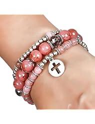 Aaishwarya Peach Beaded Cross Charm Bracelet Set For Women & Girls