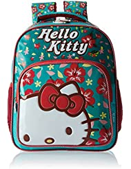 Hello Kitty Polyester 14 Inch Turquoise And Red Children's Backpack (MBE-HKP039)