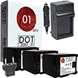 3x DOT-01 Brand 2200 MAh Replacement Canon BP-819 Batteries And Charger For Canon HFS200 Camcorder And Canon BP819