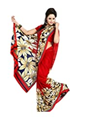 Sonal Trendz Red Chiffon Saree With (0.8 Mts) Blouse Total 6.3 Mts Printed Saree.