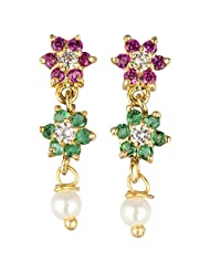 Archi Collection Trendy Golden Plated Red Green CZ With Pearl Drop Stud Golden Brass Stud Earring For Women