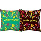 Best Festival Gifts Diwali Christmas New Year Set Of 2 Brown Green Fire Crackers Printed Polyester 12X12 Cushions...