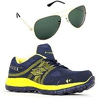 Elligator Trendy Rapid Royalblue & Yellow Sports Shoes With Aviator Sunglass Combo
