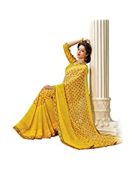 AG Lifestyle Yellow Faux Georgette Saree With Unstitched Blouse AKS2031
