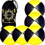 5x Pro Thud Juggling Balls Deluxe (Leather) Professional Juggling Ball Set Of 5 + Fabric Travel Bag! (Black/Yellow)