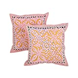 Colorfull Set Of 2 Cushion Cover Floral Pink 17 X 17 Cotton Pillow Cases