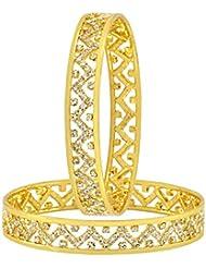 The Jewelbox Wedding Designer 22k Gold Plated Rhodium Metal Chuda Kada Bangle Set Of 2 For Women