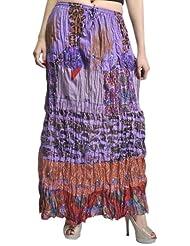 Exotic India Lavender Crushed Elastic Skirt With Batik Print - Lavender