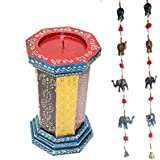 APKAMART Handcrafted Set Of Multicolor Candle Stand 12 Inch And Latkan - Home D'cor And Utility