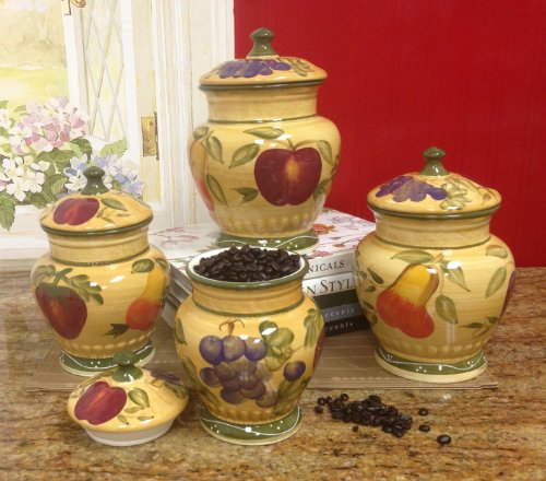 tuscan style kitchen canister sets european style tuscan fruit grape kitchen 4 pc canister set ebay 1453