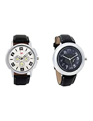 Gledati Men's White Dial And Foster's Women's Black Dial Analog Watch Combo_ADCOMB0001758