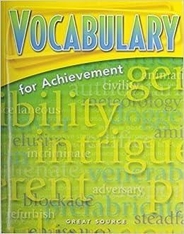 Vocabulary for Achievement: Teacher's Edition Grade 4 2000