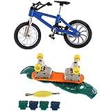 Segolike Mini Blue Finger Mountain Bike Bicycle & Finger Skateboard Set Funny Toys For Children Kids Gift