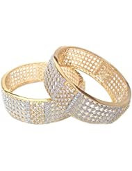 Bangles For Women And Girls - Gold Plated Bangles American Diamond Glitz Branded White Gold Plated Design No1165