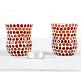Home And Bazaar Traditional Glass Mosaic Tea Light Set Of 2 3Inch / 7.5Cm - B01M3NG5A1