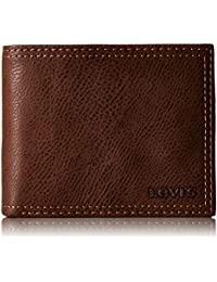 Levi's Mens Extra Capacity Slimfold Wallet, Brown, One Size