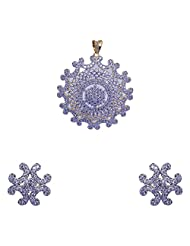 Gehna Silver Alloyed Metal Plated American Diamond Studded Pendant & Earrings Set