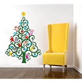 Pop Decors Vinyl Art Wall Decals Mural For Nursery Room, Happy Christmas Tree Wall Decal Removable Leaf Green...