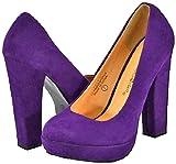 Blossom Kaya-1 Purple Faux Suede Women Platform Pumps