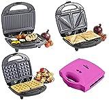 Multifunktionaler 3 in 1 Sandwichtoaster / Waffeleisen / Sandwichmaker / Toaster in verschiedenen Farben (Pink)