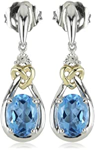 Love Knot Sterling Silver and 14k Yellow Gold Blue Topaz with Diamond Earrings