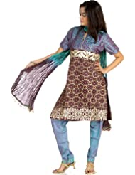 Exotic India Peacock-Blue Choodidaar Salwar Suit With Crewel Embroidery - Blue