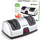 LINKYO Electric Knife Sharpener Featuring Automatic Blade Positioning Guides - 2 Stage Sharpening System