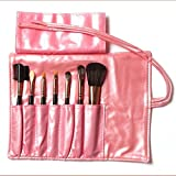 Rivchell 7 Pcs Professional Cosmetic Makeup Brush Set With Leather Travel Bag (Pink)